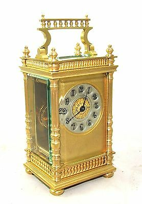 Couaillet French Brass Carriage Clock Timepiece with Key : CLEANED & SERVICED