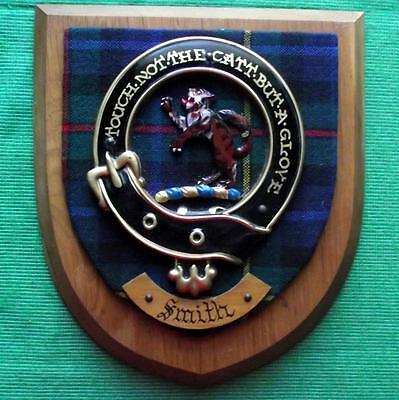 Vintage Scottish Clan MacPherson Smith Tartan Heavy Oak Plaque Crest Shield