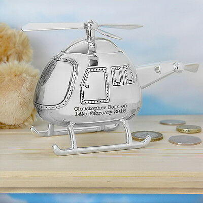 Personalised Engraved Helicopter Money Box Christening Baptism Gift For Baby Boy
