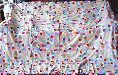 "ANTIQUE DOUBLE  WEDDING RING QUILT TOP  90"" by 76"" Great condition"