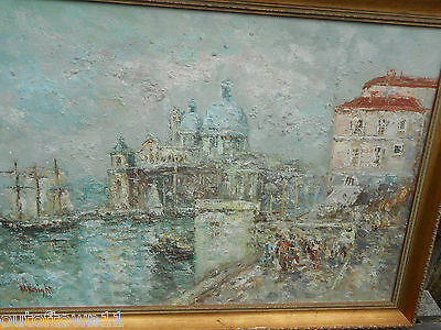 Large signed Oil Painting , Venice ?   REF 2944