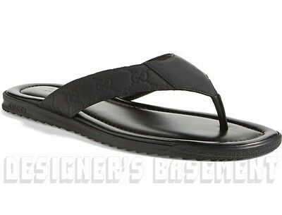 GUCCI mens 11G* black GUCCISSIMA Leather BEACH flip-flops Thong sandals NIB Auth
