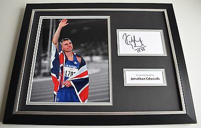 Jonathan Edwards SIGNED FRAMED Photo Autograph 16x12 display Triple Jump COA