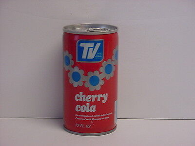 Vintage TV True Value Cherry Cola Crimped Steel Pull Tab Soda Can Bottom Opened