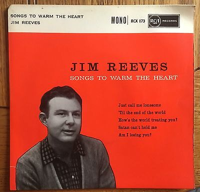 """Jim Reeves Songs To Warm The Heart UK 1960 7"""" E.P. RCA Victor Recs"""