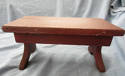 Cute Painted  Primitive Small Footstool Wood Country Sturdy