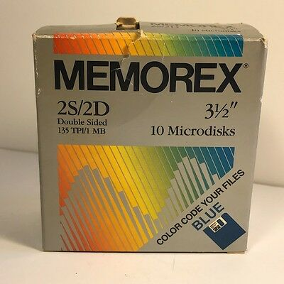 Memorex 2S/2D Double Sided Microdisks 3 And 1/2 Inch Blue Pack Of 8 135 Tpi Mb