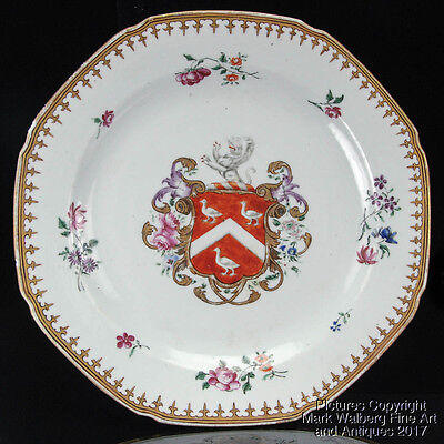 Chinese Porcelain Famille Rose Armorial Plate with Coat of Arms, 18th Century