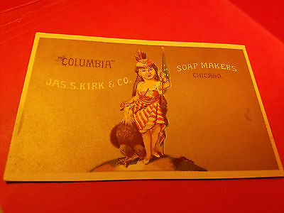 Victorian Trade Card JAS. S. KIRK & CO SOAP MAKERS Columbia & Chicago Patriotic