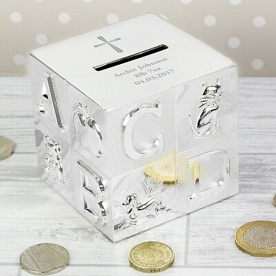 Personalised Engraved Cross ABC Money Box Christening Baptism Gift For Girl Boy