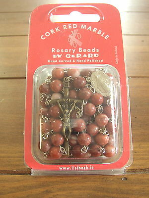 Cork Red Marble Rosary Beads from Connemara Marble by Gerard