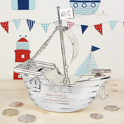 Personalised Engraved Pirate Ship Money Box Christening Baptism Gift For Boys