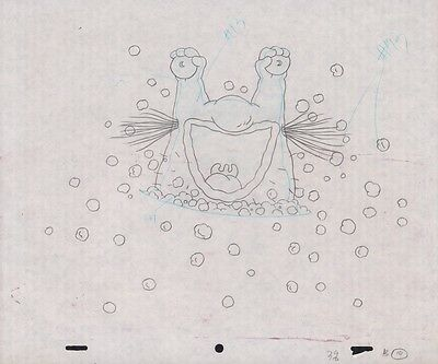 MONSTERS Original Production Cel Pencil Drawing Nicktoons Cell COA Animation Art