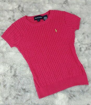 Ralph Lauren Girls Size S (5-6x) Pink 100% Cotton Cable Knit Short Slv Sweater