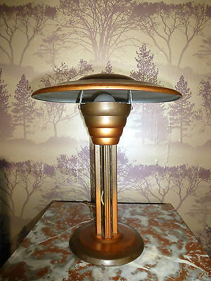 French Art Deco Copper Patinated Mushroom Lamp