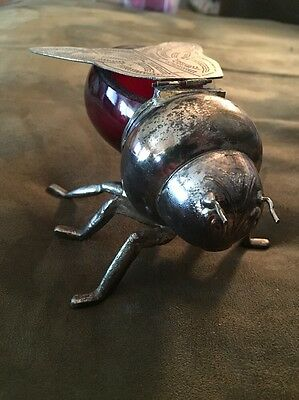 Antique Victorian Cranberry Glass Silver plate Bee Honeypot