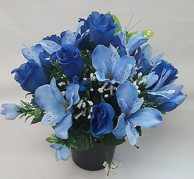 Artificial Flowers All Round Grave Memorial Arrangement Alstro Rosebud Blues