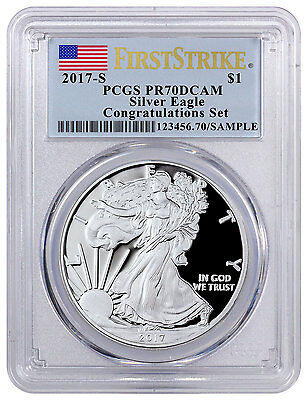 2017-S Proof Silver Eagle Congratulations PCGS PR70 DCAM FS Flag SKU46461