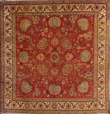 Antique All-Over Floral Large Square 10x10 Tabriz Persian Oriental Area Rug Wool