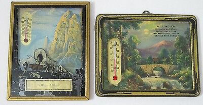2 Advertising Thermometers Reverse Painted Wagon & MEYER Groceries Davenport IA