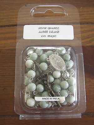 Achill Island, Co. Mayo Snow Quartz Rosary Beads from Connemara Marble by Gerard