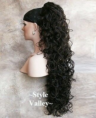 TWO Hair Pieces Brown Black Curly Ponytail Extra Long Hairpiece Extension #2