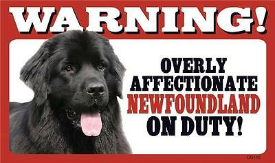 Warning! Overly Affectionate Newfoundland On Duty Dog Plastic Wall Sign Newfie
