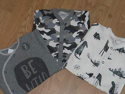 """Next 3 pack Baby Boy Sleepsuits 6-9 months; """"Gray Dino, Be Wild """" BNWT."""