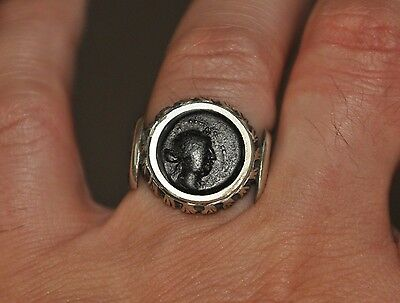 Cleopatra Authentic Ancient Bronze Coin 925 Sterling Silver Ring Sz US 10.5