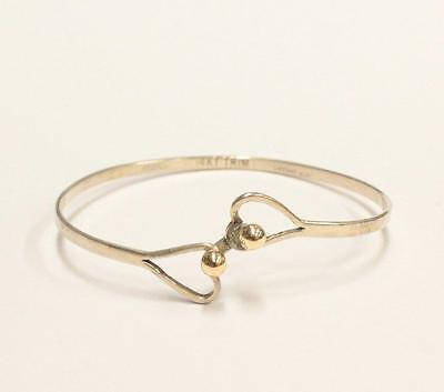 "Antique Vintage Tiffany & Co. Two Heart Gold Ball Silver Bangle Bracelet 6""Wrist"