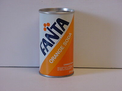 Vintage Fanta Orange Soda Straight Steel Top Opened Pop Can Product of Coca-Cola
