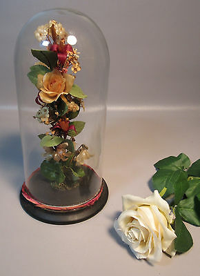 """Victorian Memorial Parlor 11"""" Glass Dome w/ Wax Flowers On Wood Base c1860"""