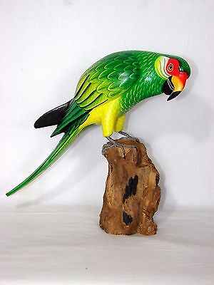 Parrot On Driftwood Base  Hand Carved Wood Tropical Sculpture Bird Decor Tiki