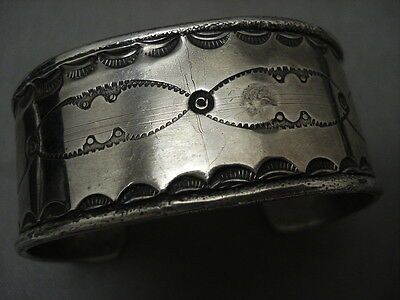 Early Vintage Navajo Hand Forged Ingot Silver Heavy Silver Bracelet Old