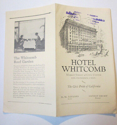1924  San Francisco HOTEL WHITCOMB CA  Advertising Brochure w/ Rates,Roof Garden