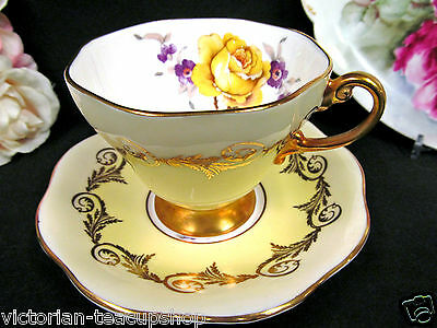 Foley Tea Cup And Saucer Yellow & Rose Pattern Teacup Gold Gilt Work