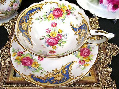 Royal Stafford Tea Cup And Saucer Gloria Pattern Rose Floral Teacup Wide Mouth