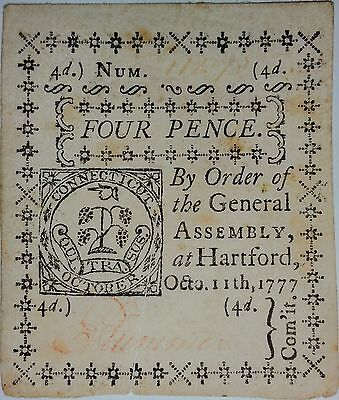 Four pieces 1777 Connecticut Colonial Currency. Two, Three, Four, & Seven Pence