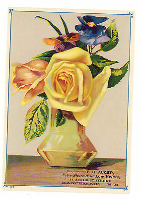 Vintage Trade Carf for F.H. Auger Shoes w/ Bouquet of Flowers, Manchester, N.H.