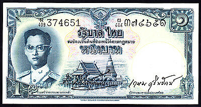 Thailand  1 Baht ND 1955  Signature No. 35  P. 74b  UNC Note