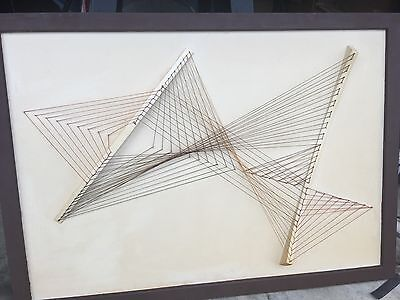 VINTAGE LARGE STAND ALONE STRING ART ABSTRACT RETRO 1960's MID CENTURY MODERN