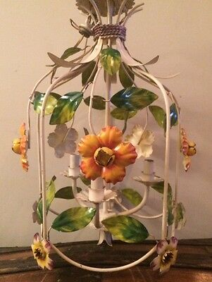 Gorgeous Italian Vintage Shabby Chic Metal Toleware Floral Chandelier.