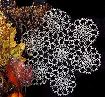 """Vintage Handmade Tatted Lace Doily - BROWN TATTING 9"""" Lovely Color and Condition"""
