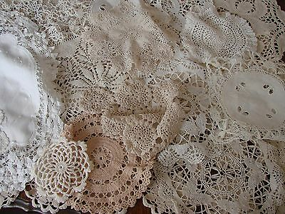 50 vintage hand crochet,lace,doilies,white,cream,ecru,wedding,tea party,rooms,