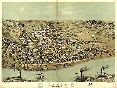 12x18 inch Reprint of American Cities Towns States Map Alton Madison Illinois