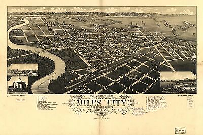 12x18 inch Reprint of American Cities Towns States Map Miles City Custer Montana