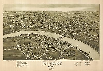 12x18 inch Reprint of USA City Towns States Map Fairmont Palatine West Virginia
