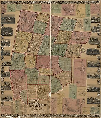 12x18 inch Reprint of  USA Cities Towns States Map Litchfield County Conneticut