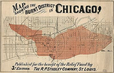 12x18 inch Reprint of American Cities Towns States Map Burnt District Chicago