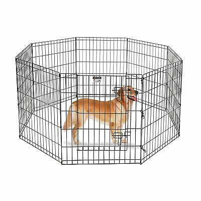 Pet Trex 2306 Steel 30 inch Playpen For Dogs Eight High Panels in Black Finish
